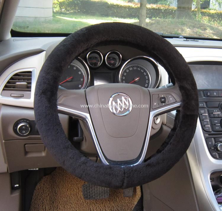 Short Plush Car Steering Wheel Cover Genuine Australia Sheepskin Lined with Rubber Ring Non-slip from China