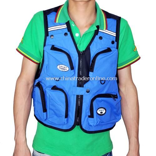 Outdoor hiking fishing photography vest multipocket vest - blue (L number)