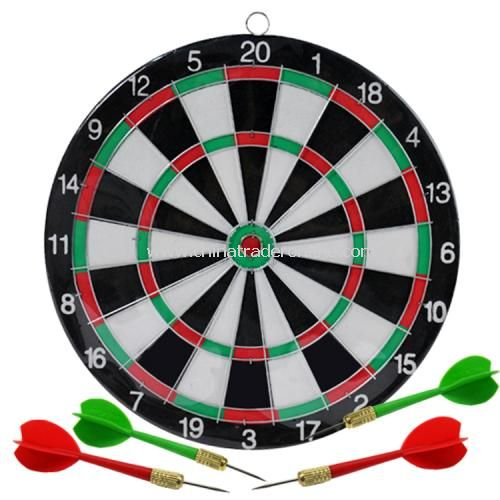 small double sided flocking thicker heavier dart board 4 darts