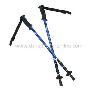 T Shape Retractable Alpenstock Hiking Walking Stick Compass blue color