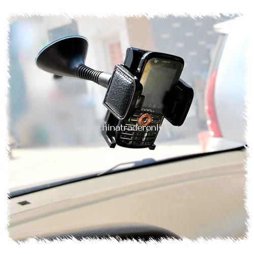 Leather rotating suction cup car mobile phone holder / navigator frame