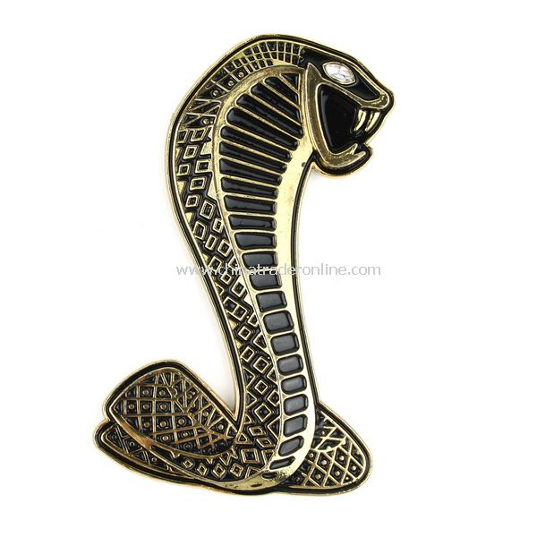 3D Decal Cobra Shaped Badge Emblem Car Sticker Golden