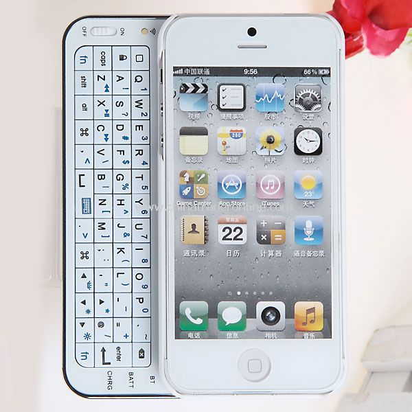 Slide-out Wireless Bluetooth Qwerty Keyboard with Hard Case for iPhone 5 - White