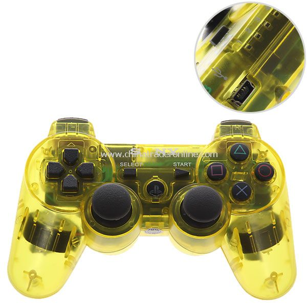 Bluetooth Dual Shock3 Wireless Controller Rechargeable Joypad for PlayStation 3-yellow