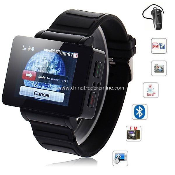 i5 1.75 inch Java FM Single Card Touch Screen Watch Cell Phone Black from China