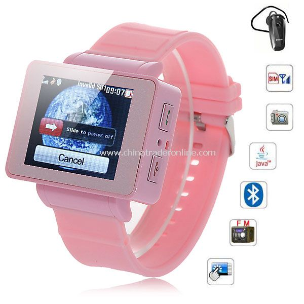 i5 1.75 inch Java FM Single Card Touch Screen Watch Cell Phone Pink