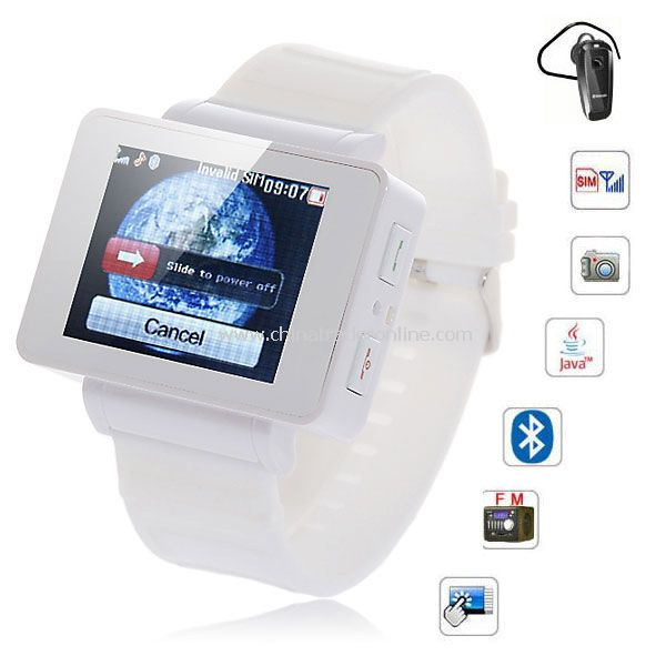 i5 1.75 inch Java FM Single Card Touch Screen Watch Cell Phone White
