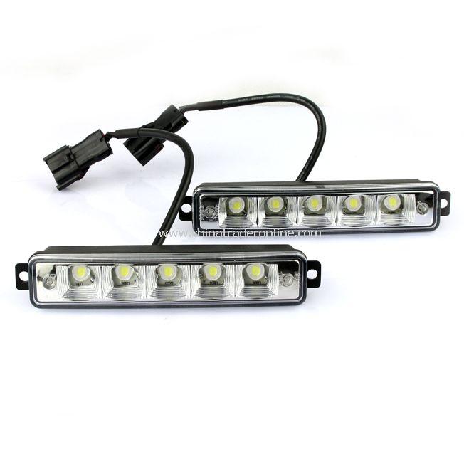 2X 5 LED White Universal Daytime Running Driving Light DRL Fog Lamp Waterproof