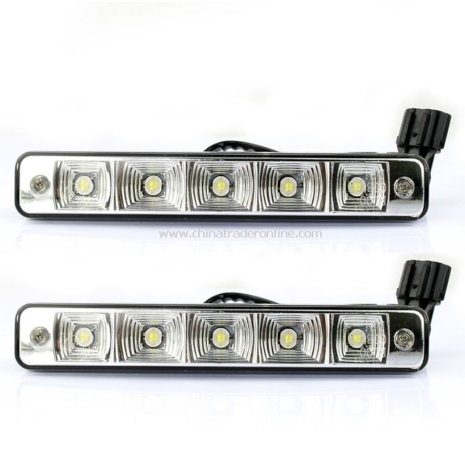 2X 5 LED White Universal Daytime Running Driving Light DRL Fog Lamp Waterproof from China