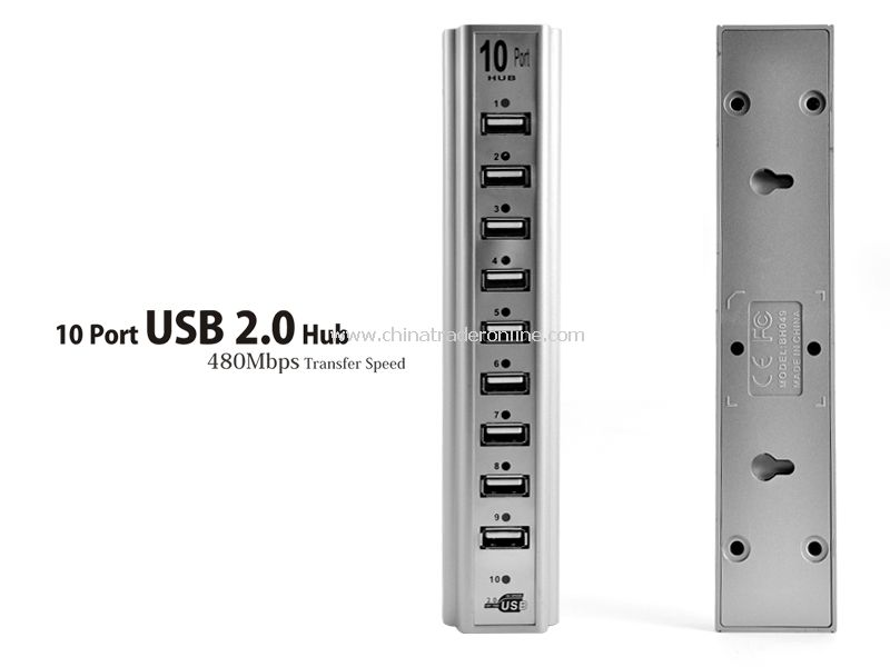 10 Port USB 2.0 Hub - 480Mbps Transfer Speed