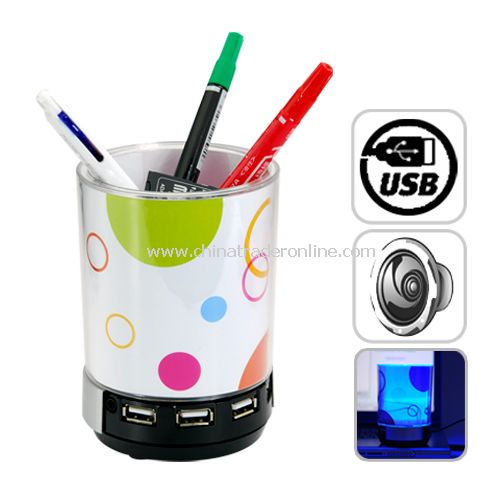 4 Port USB Hub Pen Holder with LED Light