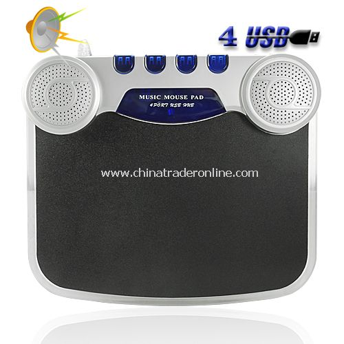 USB Hub Mouse Mat with Speakers + Microphone