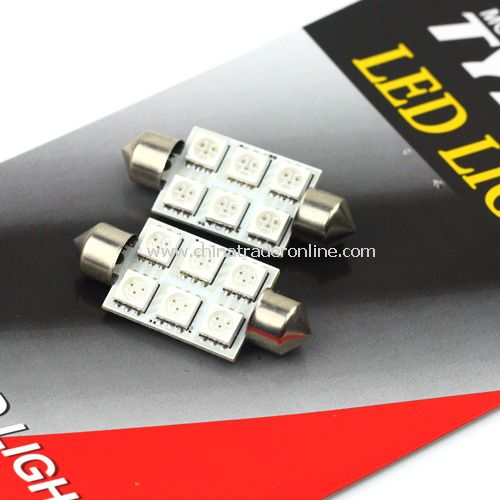 replacement 2pcs car interior roof 6 smd leds 5050 festoon
