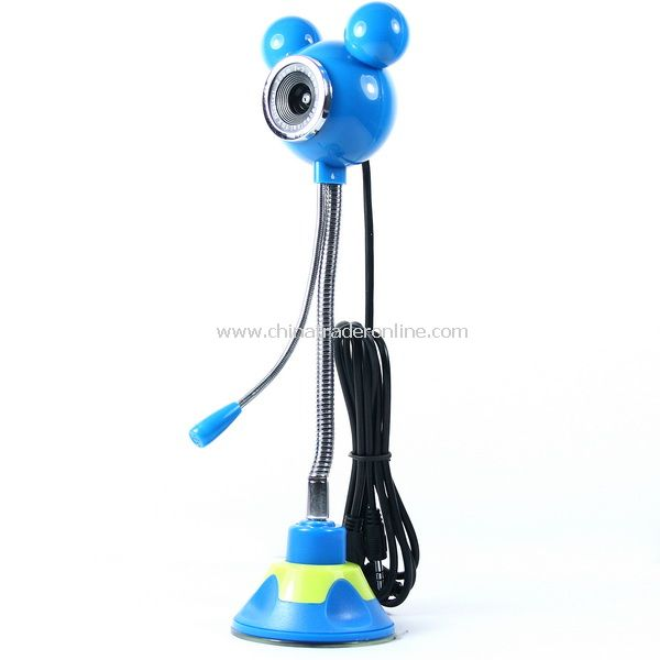 5.0 MP Camera Mickey Mouse Shaped PC Webcam w/ Mic Blue