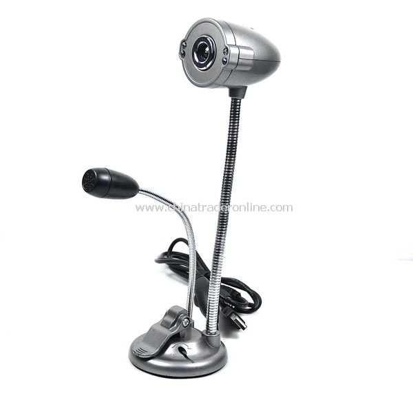 5.0 MP USB 4 LED Webcam PC Camera W/ Mic Silver