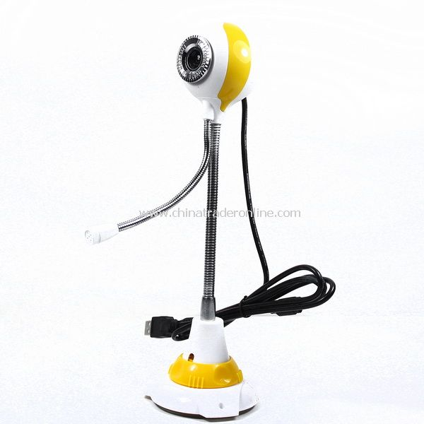 5.0 MP USB PC Camera Round Shaped Webcam w/ Mic Yellow
