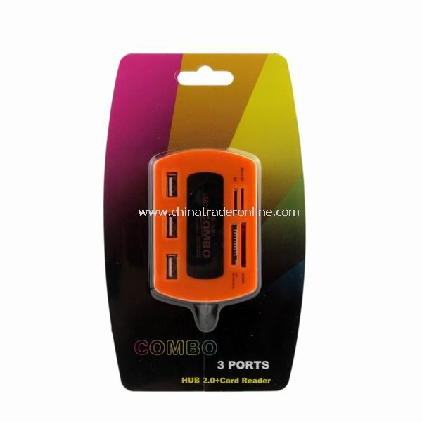 New Card Reader 3 Ports USB 2.0 Hub CF M2 MMC MS SD Orange