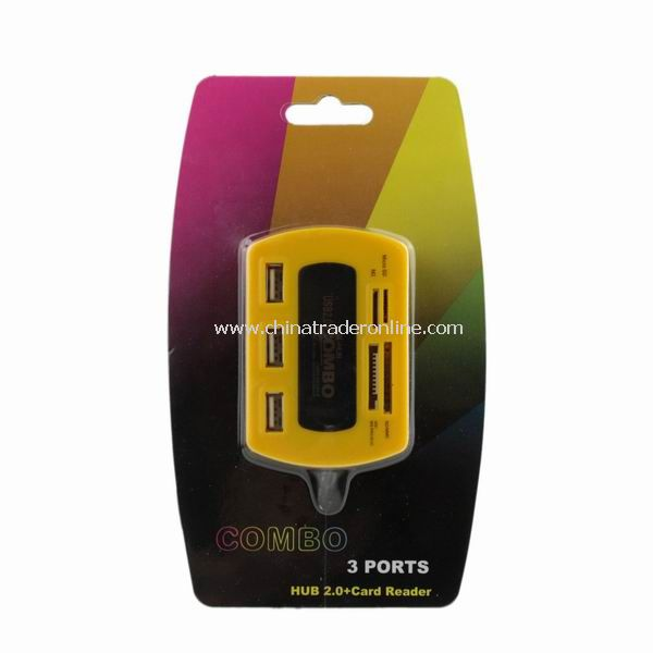 New Card Reader 3 Ports USB 2.0 Hub CF M2 MMC MS SD Yellow