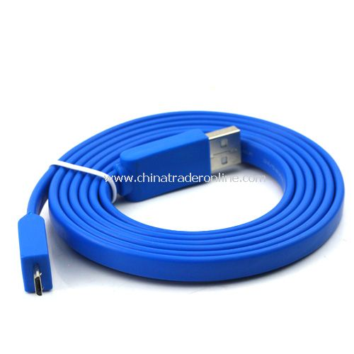 1.5m Noodle Style Micro USB Cable for HTC/Samsung/Blackberry etc blue
