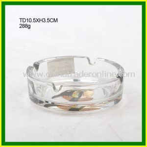 4 Holes Round Clear Glass Smoking Ashtray