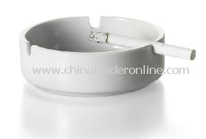White Round Shape Ceramic Ashtray, Easy to Clean After Using