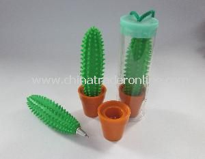 Green Cactus Shaped Ball Pen in Brown Vase