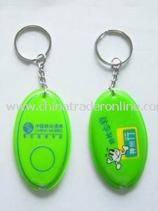 Fashion Keychains Oval Shape Keylite with Yellow LED Light
