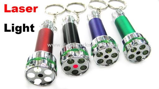 Laser+6 LED Mini Flashlight Keychain Can Print Logo Super Light