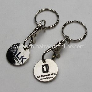 Enamel Metal Trolley Coin Keychain