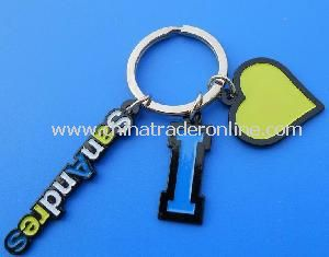 Letter Love Design Metal Keychain with Heart Shape