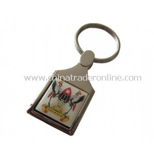 Logo Printing+Epoxy Dome Metal Keychain from China