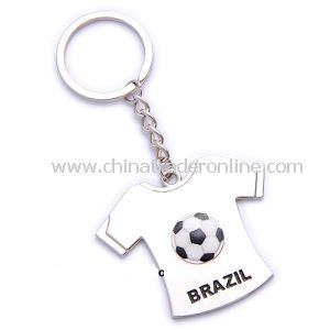 Promotion T-Shirt Shape Brazil Football Metal Keychain from China