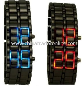 Iron Faceless Red / Blue Binary LED Wrist Watch