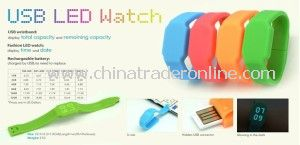 Silicone LED Watch with Fashion Styles USB Wristband