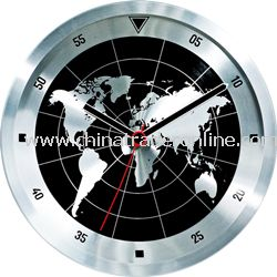 Aluminum Wall Clock with World Map Dial for Home Decorative