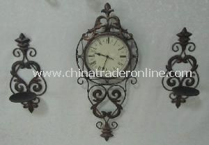 Antique Metal Wall Clock with 2 Candle Holder