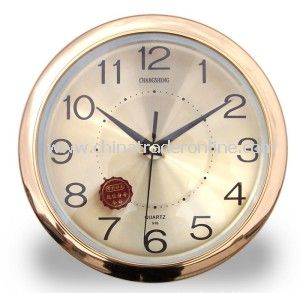 Gold Plating Round Wall Clocks, Decorative Wooden/Glass Quartz Clock, Eco-Friendly, Customers Design Welcome from China