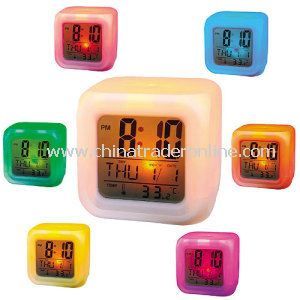 Color Changing Gadget Square LCD LED Alarm Clock