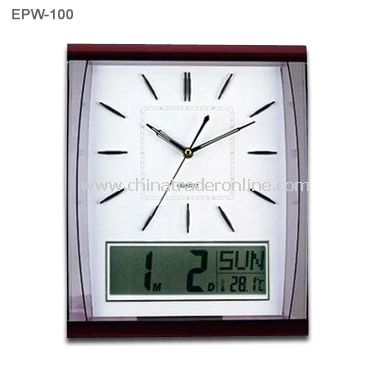 Quartz Wall Clock with LCD Calendar
