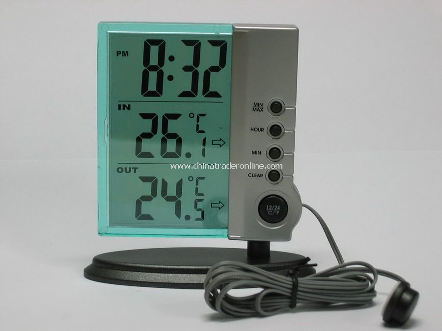Transparent LCD Clock with in/out Thermometer from China