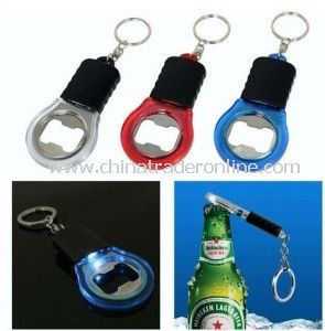 Beer Bottle Opener with Keychain&1LED Flashlight from China