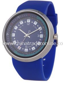 Fashion Steel Case Men Watch with Blue Silicone Band