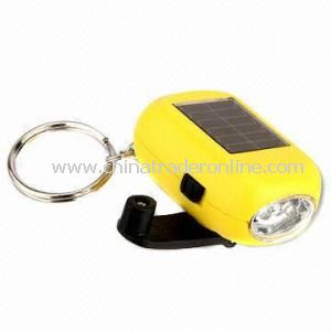 Plastic Solar Keychain, Made of Plastic, Environment-Friendly, OEM Order Are Accepted