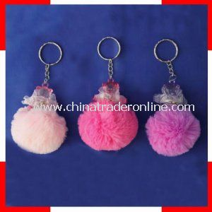 Promotional Plush Keychain with Transparent Plastic Toy, OEM Orders Welcomed