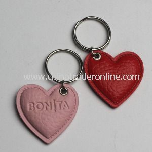 Custom Heart PU Leather Keychain from China