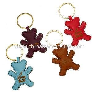 Custom Little Bear PU Leather Keychain from China