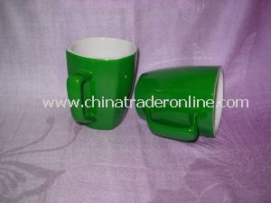 Custom/Specialized Square Shape Green Glazed Ceramic/Stoneware Premium Coffee/Tea Mug/Cup