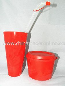 Plastic Popcorn Pail and Straw Cup