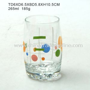 Glass Water Cup with Decal