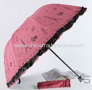 2014 The Eiffel Tower Design UV Protection Umbrella, Beach Umbrella, Three Folding Sun-Rain Umbrella